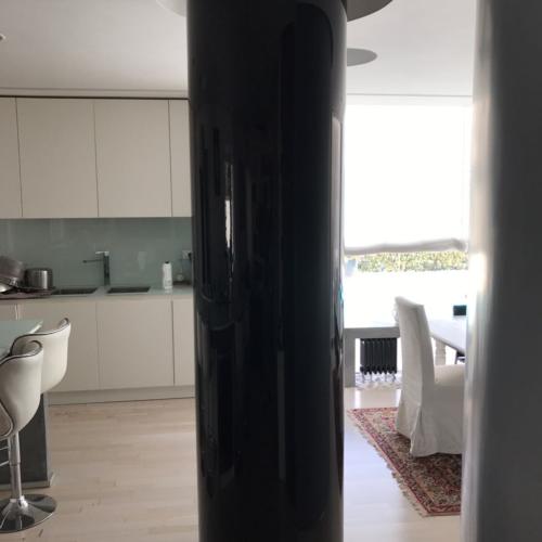 rivestimento colonne vetro curvo